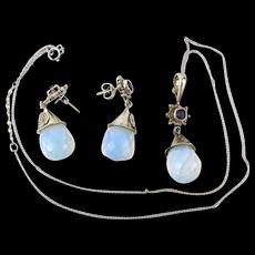 Vintage SAJEN Sterling Silver Opalite Set Pendant Necklace Earrings