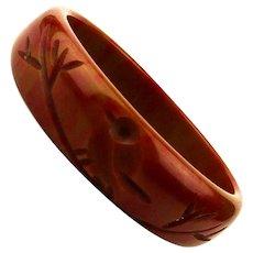 Vintage Carved Toffee / Red Bakelite Bracelet - Bangle w/ Bird