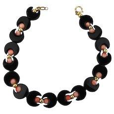 Sweet Petite Onyx Angel Skin Coral 14K Gold Bracelet