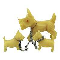 1930s Celluloid Scottie Dog Charms Mom w/ Pups Japan