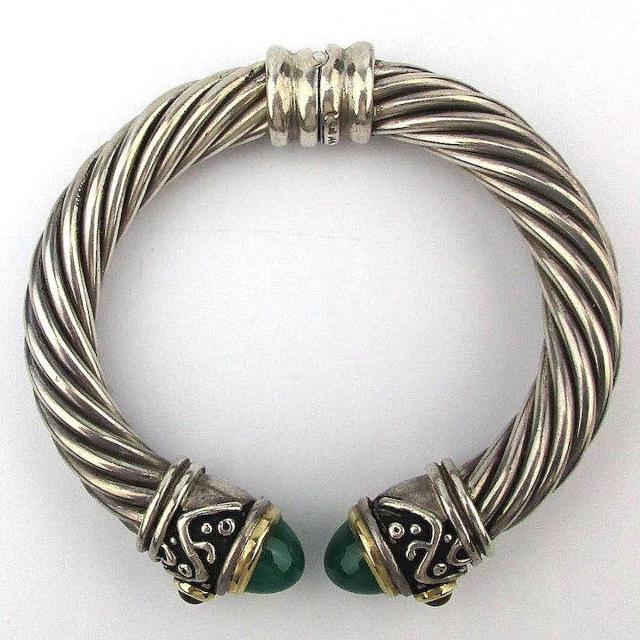 afd4b39be1a Signed 925 Sterling Silver 14K Gold Cable Cuff Bracelet Gemstone Ends