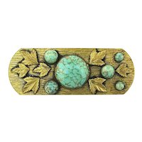 Big Old Artsy Craftsy Brass Pin w/ Leaves n Turquoise Glass