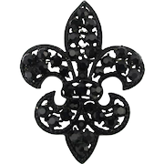 Signed Weiss Black Rhinestone Fleur de Lis Pin Brooch