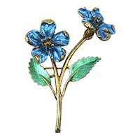 Vintage Enamel Flower Trembler Pin - It Shimmies n Shakes