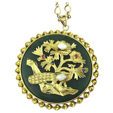 Chinese Jade Gold-Filled Jeweled Peacock Bird Pendant Necklace
