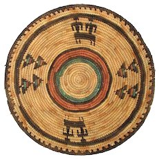 Old Navajo Woven Wedding Basket Bowl Plate w/ Figures
