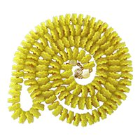 1950s Yellow Plastic Ruffle Flower Bead Necklace - Long