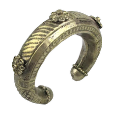 Old Sterling Silver Tribal Cuff Bracelet Thick Handwrought