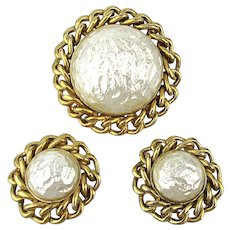 Bold Sarah Cov Faux Mabe Pearl Pin Earrings Set Link Chain