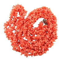 Vintage Coral Nugget Necklace - 3 Strands Twist in One