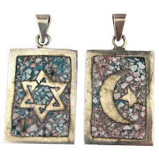 2 Old Taxco Sterling Silver Pendants Signed CAB Inlaid Jewish Star Moon n Star