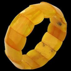 Genuine Egg Yolk Baltic Amber Stretch Bracelet - 15 Bead Panels