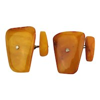Vintage Egg Yolk Butterscotch Baltic Amber Cufflinks