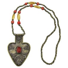 Vintage Tribal Ethnic Necklace Beads Pendant Different