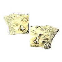 JJ Jonette Modernist Stylized Gilded FACE Earrings