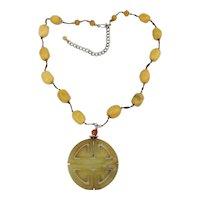 Vintage Yellow Jade Chinese Symbol Pendant w/ Jade Beads Necklace