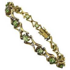 Vintage 18K Gold on Sterling Silver Peridot Bracelet