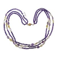 Fortunoff Amethyst Bead Multi Strand Necklace 14k Gold w/ Crystal