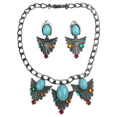 Favoloso Italian Designer Necklace Earrings Set Signed Il Cesello