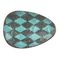 Modernist Enamel Copper Pin Brooch - Signed Mark Allen