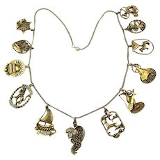 Rare Judaica 10K Gold Necklace 12 Tribes of Israel Charms Hebrew Jewish