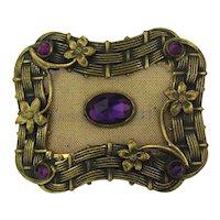 Old Victorian Fancy Brass Sash Pin w/ Mesh n Faux Amethyst n More