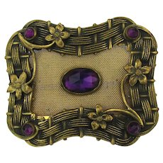 Old Victorian Fancy Brass Sash Pin w/ Mesh n Faux Amethyst n More