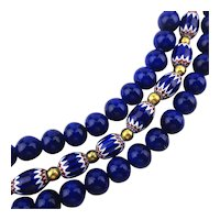 Luxe Multi Strand Royal Blue Necklace w/ Enamel Zig Zag Beads