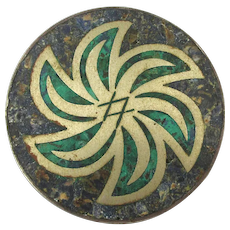 Old Taxco Sterling Silver Pin Pendant Crushed Stone Inlay Pinwheel