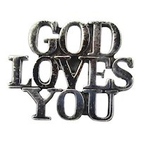 Tiffany & Co. Sterling Silver ~ GOD LOVES YOU ~ Lapel Pin - Tie Tack