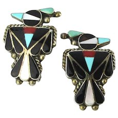 ZUNI Signed Sterling Silver Thunderbird Earrings Inlaid Stones F.C.
