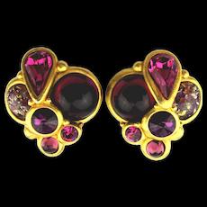 Vintage Georgiou Clip Earrings Jeweled in Goldtone