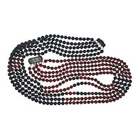 Estate 14K Gold Five Strand Necklace Onyx / Carnelian Beads