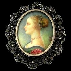 Victorian Italian Miniature Handpainted Portrait Pendant / Pin 800 Silver Filigree