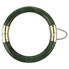Vintage Genuine Chinese Jade Hinged Bangle Bracelet
