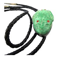 Vintage Ramah Navajo Trade Roots Carved Turquoise FROG Bolo Tie Sterling Silver