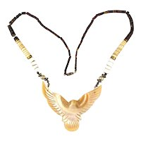 Native American Carved Mother-of-Pearl Shell Eagle Necklace Heishi Beads