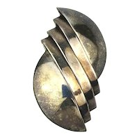 Vintage Taxco Sterling Silver Pin - Layered Sliced Modernist Brooch