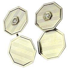 Mens Art Deco Era 14k White Gold Cufflinks w/ Diamond