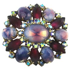 Exquisite Pink to Purple Rhinestones All in One Pin Brooch