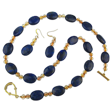 Lovely Lapis Bead Necklace w/ Matching Pierced Earrings Set