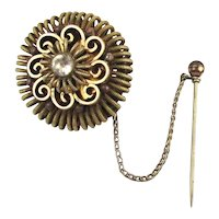 Old Victorian Pin Brooch Gold on Brass Spirals w/ Stickpin