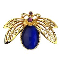 Vintage AVON Cobalt Blue Jeweled Butterfly Pin