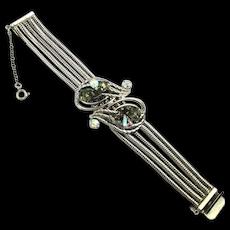 Gorgeous HOBE 1960s Chained Rhinestone Bracelet Hobé