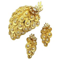 Vintage Pin - Clip Earrings Set Gilded Strawberry Rhinestone Sparkle