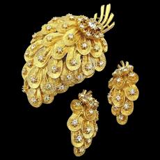 Vintage Pin - Clip Earrings Set Gilded Strawberry Rhinestone Sparkle