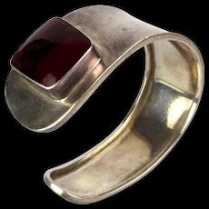 Taxco Vintage Sterling Silver Sideways Cuff Bracelet Red Jasper