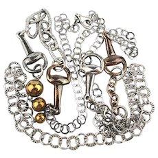 Long Sterling Silver Necklace Neck Chain w/ Oddball Design