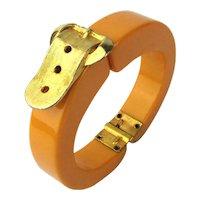 Art Deco Era Bakelite Clamper Bracelet w/ Gilt Buckle Top
