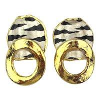 SOLD - Unique Vintage Designer LACOMBE Earrings w/ 24K Gold Trim